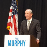 Democratic gubernatorial candidate Phil Murphy delivering a major policy speech on the campus of the New Jersey Institute of Technology in Newark.